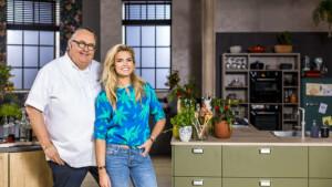 Nicolette van Dam en chefkok Julius Jaspers in nieuw kookprogramma Klinkt Smakelijk